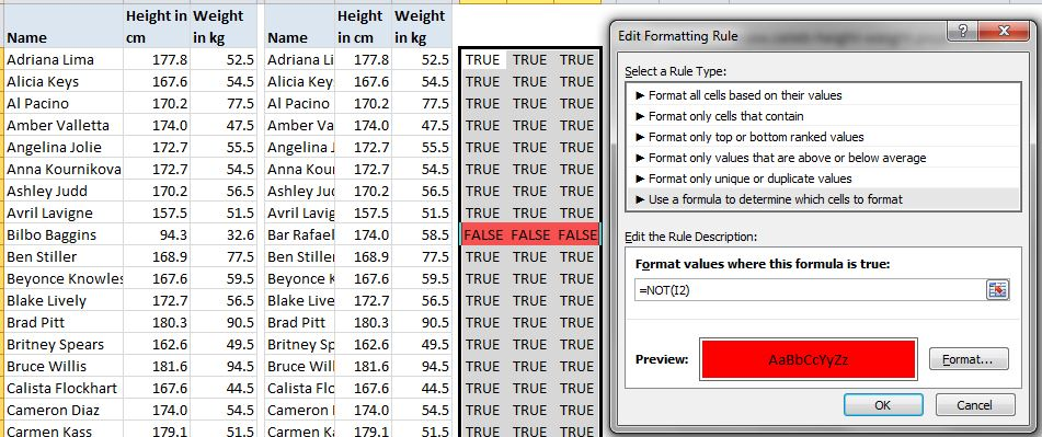 Conditional Formatting for FALSEs