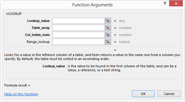 VLOOKUP Function Args