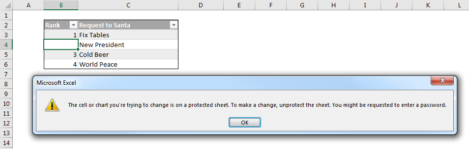 lock range of cell in excel 2013